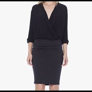 James Perse black and grey wrap dress (M)